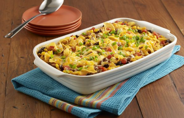 Beef Taco Noodle Casserole using Muellers Extra Wide Egg Noodles