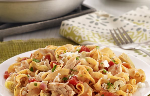 Mediterranean Tuna Noodle Skillet Tuna and noodles gets a modern twist thanks to fresh, new flavors from artichokes, tomato and feta cheese. Ready in just 30 minutes!